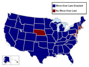 US Map of States with Move Over Laws as of January 29 2009